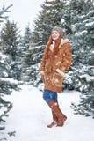 Mädchen im Winterpark am Tag E Rothaarigefrau in voller Länge Lizenzfreie Stockfotos