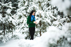 Mädchen im Winterwaldporträt eines Mädchens Mädchen im Winter geht im Wald Schnee läuft aus Niederlassung aus Stockfoto