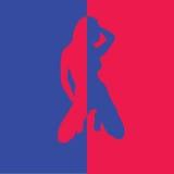 Mädchen im zwei Farbblau und -ROT Lizenzfreies Stockbild