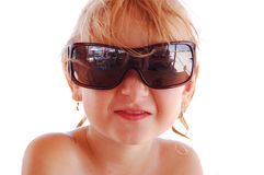 Mädchen ist Schutzbrillen Lizenzfreie Stockbilder