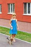 Mädchen 6 Jahre alt im blauen Kleid, das mit einem Yorkshire-Terrier nahe hohem Gebäude geht Stockbilder