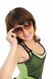 Mädchen-Jugendlicher in den dunklen Gläsern Stockfotos