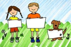 Mädchen, Junge und Hund mit Zeichen auf Tintenflecken Stockfotografie