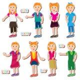 Mädchen-Kind-Haltungs-Set Lizenzfreie Stockbilder