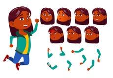 Mädchen, Kind, Kind, jugendlich Vektor Inder, Hindu Asiatisch Glückliche Kindheit Gesichts-Gefühle, verschiedene Gesten animation vektor abbildung