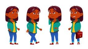 Mädchen-Kind wirft gesetzten Vektor auf Inder, Hindu Asiatisch Schüler der Grundschule Active, Freude, Freizeit für Anzeige vektor abbildung