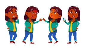 Mädchen-Kind wirft gesetzten Vektor auf Inder, Hindu Asiatisch Schulkind Ausbildung Jung, nett, komisch Für Darstellung Druck vektor abbildung