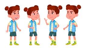 Mädchen-Kindergarten-Kinderhaltungen eingestellter Vektor Charakter-Spielen childish Zufällig kleiden Sie Für Darstellung Druck,  vektor abbildung