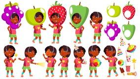 Mädchen-Kindergarten-Kinderhaltungen eingestellter Vektor Inder, Hindu Asiatisch Partei-Kostüm-Karneval Baby-Ausdruck vorschüler  vektor abbildung