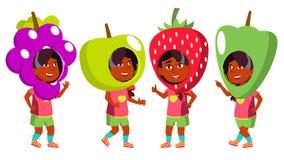 Mädchen-Kindergarten-Kinderhaltungen eingestellter Vektor Inder, Hindu Asiatisch Partei-Kostüm-Karneval Junge positive Person sch vektor abbildung