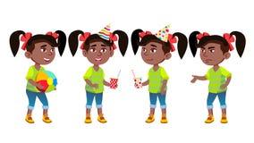 Mädchen-Kindergarten-Kinderhaltungen eingestellter Vektor schwarzes Afroamerikanisch Kleines Kind Spaß auf Karneval, Geburtstagsf vektor abbildung