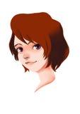 Mädchen-Lächeln-Digital-Malerei, die Manga zeichnet Stockfotos