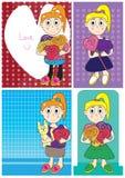 Mädchen-Liebes-Blumen-Karte Set_eps Stockfoto