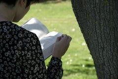 Mädchen liest Buch im Park Stockbild