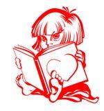 Mädchen liest großes Buch Lizenzfreie Stockfotografie