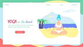 Mädchen in Lotus Position Sit auf Seestrand Körper-Liebe lizenzfreie abbildung