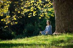 Mädchen meditiert, sitzend auf dem Gras unter einem Ahornbaum im Herbst lizenzfreie stockfotos