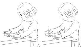 Mädchen-Messwert und Schreiben Stockbilder