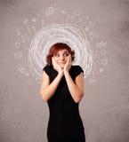 Mädchen mit abstrakten Kreisgekritzellinien und -ikonen Lizenzfreie Stockbilder