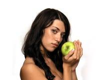 Mädchen mit Apfel Stockfotografie