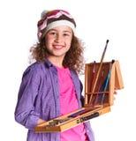 Mädchen mit Aquarellmalerei Lizenzfreie Stockfotografie