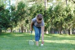 Mädchen mit Badminton Stockfoto