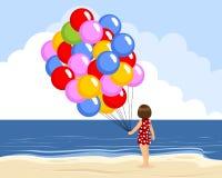 Mädchen mit Ballonen lizenzfreie abbildung