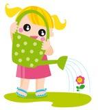 Mädchen mit Bewässerungsdose Stockfoto