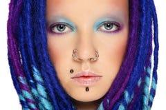 Mädchen mit Blau fürchtet Lizenzfreie Stockbilder