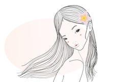 Mädchen mit Blume lizenzfreie abbildung