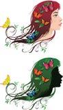 Mädchen mit Blumen und Basisrecheneinheiten in ihrem Haar Lizenzfreie Stockfotos