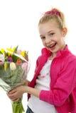 Mädchen mit Blumenstrauß der bunten holländischen Tulpen Stockfotografie