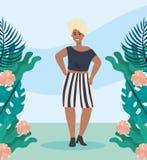 Mädchen mit Bluse und kurzer zufälliger Kleidung lizenzfreie abbildung