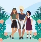 Mädchen mit Bluse und Kurzschluss mit Kleiderzufälliger Kleidung vektor abbildung