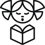 Mädchen mit Buch stock abbildung