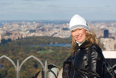 Mädchen mit Central Park im Hintergrund Lizenzfreies Stockbild