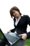 Mädchen mit Computer Lizenzfreie Stockfotos