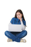 Mädchen mit Computer Stockbilder