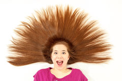 Mädchen mit dem ährentragenden Haar stockbild