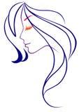 Mädchen mit dem blauen Haar Stockbilder
