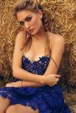 Mädchen mit dem blonden Haar im eleganten Kleid, das auf dem Heu aufwirft Stockfotos