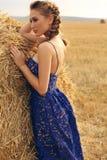 Mädchen mit dem blonden Haar im eleganten Kleid, das auf dem Heu aufwirft Lizenzfreies Stockbild