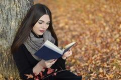 Mädchen mit dem dunklen Haar liest blaues Buch im Herbstpark Stockfotografie