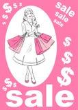 Mädchen mit dem Einkaufen auf einem rosa Hintergrund stock abbildung