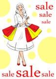 Mädchen mit dem Einkaufen auf weißem Hintergrund lizenzfreie abbildung