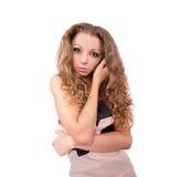 Mädchen mit dem gelockten Haar Stockfotografie