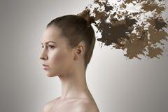 Mädchen mit dem Haar, das in der Farbe schmilzt Stockfotos