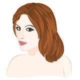 Mädchen mit dem hellbraunen Haar und Porträt der blauen Augen Lizenzfreies Stockbild