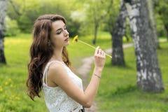 Mädchen mit dem langen Haar und gelbem Löwenzahn Stockfotografie