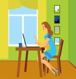 Mädchen mit dem Laptop Stockfoto